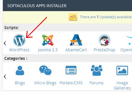 Wordpress Softaculous