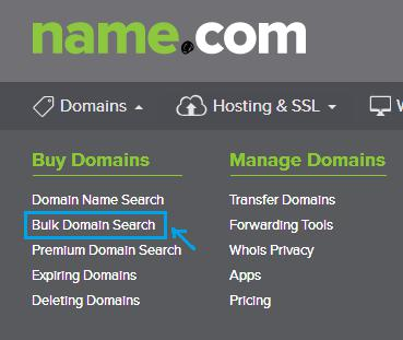 name.com domain search bulk